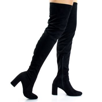 Billy Black By Speed Limit 98, Retro OTK Over Knee Dress Boots On Block Heel