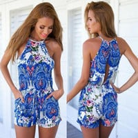 Royal Blue Paisley Print Halter Sleeveless Rompers