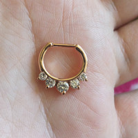 ROSE GOLD plated Crystal Septum Clicker Nose Piercing - 16g & 14g