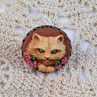 Vintage Style Hand Painted Kitty Cat Cameo Ring - SugarKitty Couture