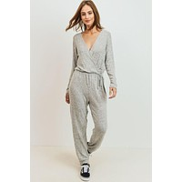 Grey Surplice Knit Jumpsuit