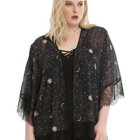 Black Lace Trim Constellation Kimono Plus Size