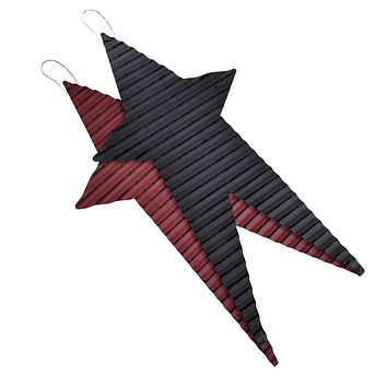 Rustic Corrugated Long Metal Star Wall Decor, Assorted Colors, 18-Inch