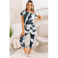 Take The Scenic Route One Shoulder Tie Dye Jumpsuit (Ivory/Charcoal)