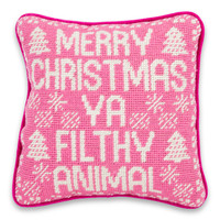 Merry Christmas Filthy Animal Needlepoint Pillow