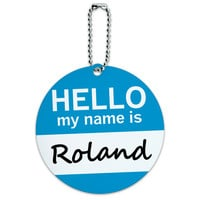 Roland Hello My Name Is Round ID Card Luggage Tag