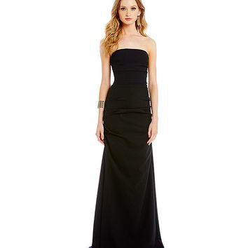 Nicole Miller Collection Felicity Techy Crepe Strapless Gown | Dillards