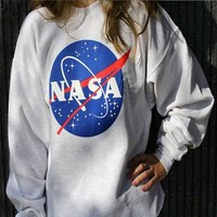 "Gray ""NASA"" Printed Sweatshirt"