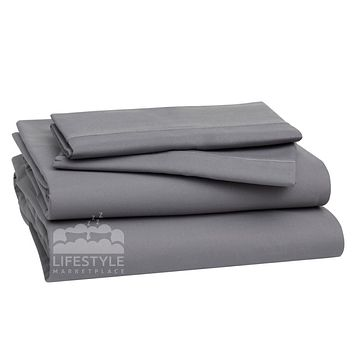 Queen Sheets - Frost Gray - Deep Sleep 1800 Thread Count Sheet Set - Breathable, Moisture Wicking, Ultra Soft, Wrinkle Free