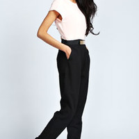 Izzie Short Sleeved Woven Belted Jumpsuit