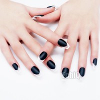 24pcs/kit Black Coffin False Artificial Nails Long Flat Full Cover Finished Design Matte Fake Nail Tips with Glue Sticker Z906