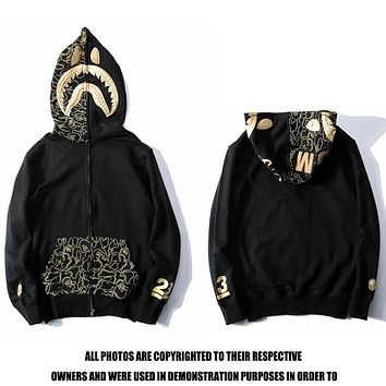 Bape shark camouflage couple trend stitching color hoodie jacket 1