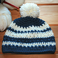 Baby pompom hat 6 9 12 months Baby boy beanie hat Pure merino wool Blue & white Winter baby woolly hats Handmade baby wear Accessories Gifts