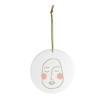 Deep Thought Ceramic Christmas Ornaments in Cream