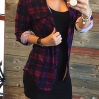 Penny Plaid Flannel Top: Berry/Black/Blue