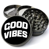 Good Vibes Only Deluxe Metal 5 Piece Herb Grinder With Fine Screen - Create Your Own Grinder!
