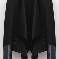 Black Open Front Drape Neckline Crop Blazer with Faux Leather Detail