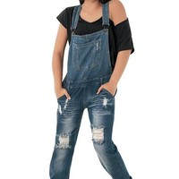 Distressed Dark Wash Jean Overalls | Machine Jeans
