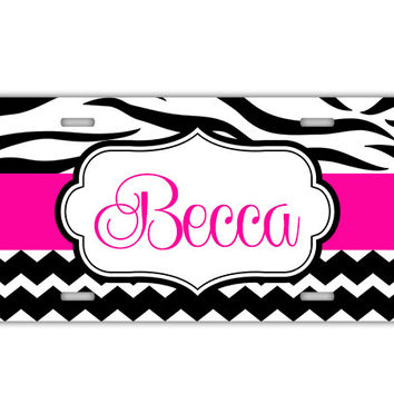 Zebra stripe with chevron print - Custom front license plate for girls