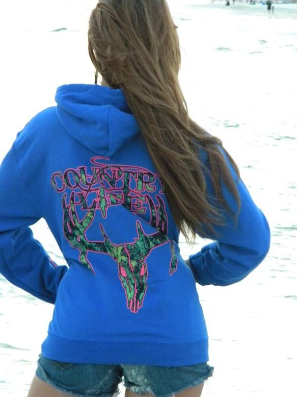 Image of Country Life Outfitters Royal & Pink Camo Realtree Deer Skull Head Hunt Vintage Bright Hoodie