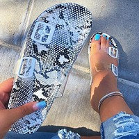 Summer Classic Fashionable Woman Cesual Serpentine Print Flat Sandals Slippers Shoes