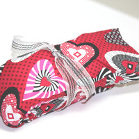 Microwaveable Herbal Heating Padt - Hearts on red Removable cover