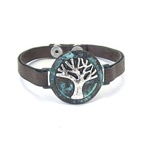 Tree of Life and Leather Band Bracelet