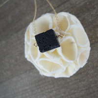 14k gold filled cube black lava rock bead necklace / bridesmaid necklace / minimalist / dainty necklace / essential oil diffuser necklace