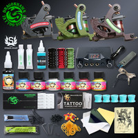 Professional Tattoo Kits Top Artist Complete Set 3 Tattoo Machine Gun Lining And Shading Tattoo Inks Power Needles Tattoo Supply