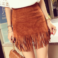 2015 New Women Suede Fringed Leather Skirt Fashion Package Hip High Waist Skirts Female Plus Size S~2xl Saia Feminina