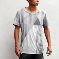 PYRAMID TEE - Heathen Clothing Men's T-Shirt - Hand Dyed Gray and Charcoal Panels