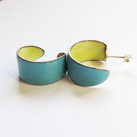 Small Hoop Stud Earrings, turquoise blue and yellow hoop earrings, boho chic post earrings, enamel jewelry