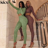 Kliou women fitness two pieces set elastic skinny print outfit 2019 autumn full sleeve crop top + high waist leggings tracksuit