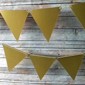 BLOWOUT Gold Large Triangle Flag Pennant Banner (11FT)
