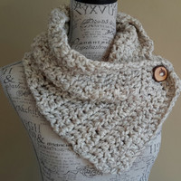 Crochet Cowl. Scarf. Button Scarf. Oatmeal Scarf. Katniss inspired. Made by Bead gs on ETSY. Chunky. Infinity scarf. Natural scarf.