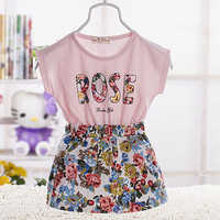 Korean child baby girls clothing 2016 summer short-sleeved cotton dress for newborn infant baby girls wear clothes tutu dresses