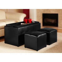 "Walmart: Design4Comfort"" Faux Leather Storage Bench With 2 Side Ottomans, Black"