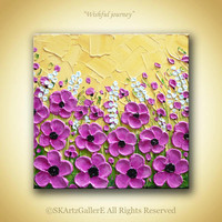 Flowers on field landscape Heavy textured Impasto painting on canvas- Home wall decoration Original Artwork -Sunny sky, Pink flowers Art