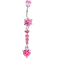 925 Sterling Silver Pink CZ Bottom Heart Drop Belly Ring   Body Candy Body Jewelry
