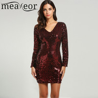 Meaneor Sexy Lady Sequined Dress Dresses for all Seasons Elegant V-Neck Long Sleeve Bodycon Mini Pencil Package Hip Party Dress