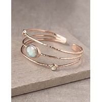 Rose Gold Labradorite Lotus Cuff