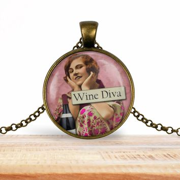 Retro girl wine pendant necklace, Wine diva, choice of silver or bronze, key ring option