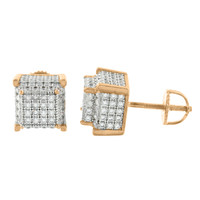 Mens Rose Gold Cube Earrings