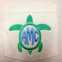 Turtle Monogram Pocket T Shirt