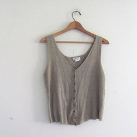 20% OFF STOREWIDE. vintage taupe silk top. knit tank top. sweater tank. slinky crop top