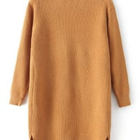 Camel High Neck Dip Hem Sweater Dress