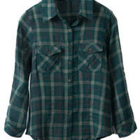 ROMWE   Check Pocketed Rolled-up Green Shirt, The Latest Street Fashion