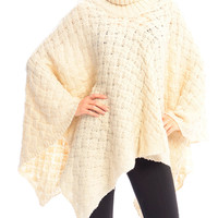 Beige Turtle Neck Knitted Poncho