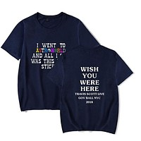New Fashion Hip Hop T Shirt Men Women T-shirts Wish You Were Here Letter Print Tees Tops