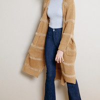Camel Long Knit Cardigan